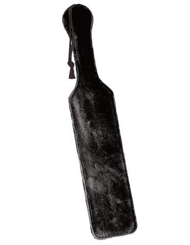 LEATHER PADDLE W/BLACK FUR