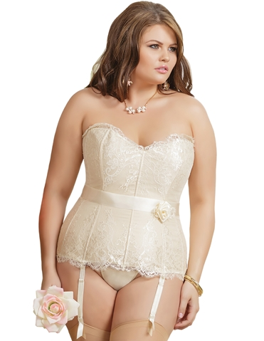 SLEEK IVORY LACE CORSET - PLUS