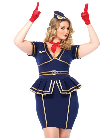 FRIENDLY SKIES FLIGHT ATTENDANT COSTUME - PLUS