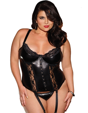 NAUGHTY & NICE STRETCH LACE CORSET - PLUS