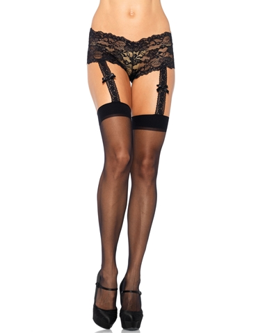 SHEER STOCKINGS WITH ATTACHED LACE PANTY