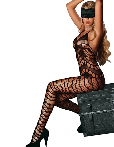 CROTCHLESS CATSUIT WITH BONDAGE SET