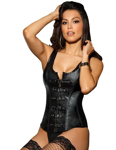 BUCKLE ME UP FAUX LEATHER CORSET