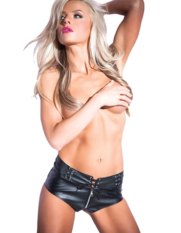 TEMPT & TEASE FAUX LEATHER SHORTS