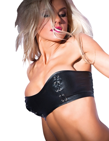 TEMPT & TEASE FAUX LEATHER BANDEAU TOP