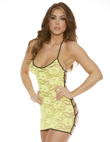 LACE FRONT DRESS WITH STRAPPY BACK