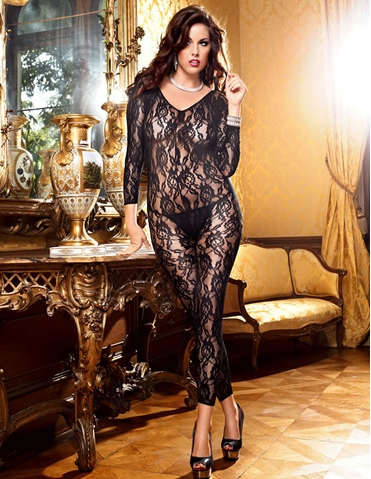 LONG SLEEVE LACE BODYSTOCKING - PLUS
