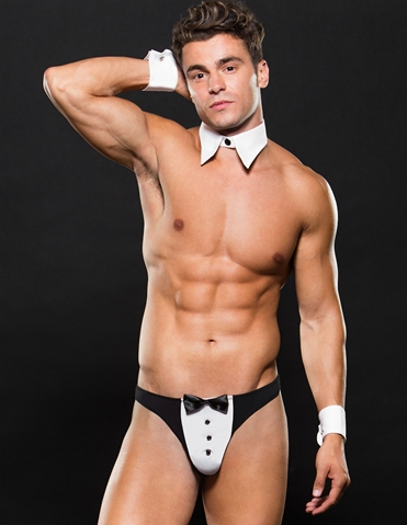 TUXEDO THONG SET WITH CUFFS AND COLLAR