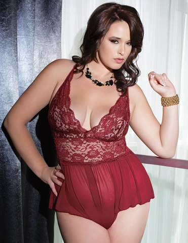MERLOT MESH & LACE TEDDY - PLUS