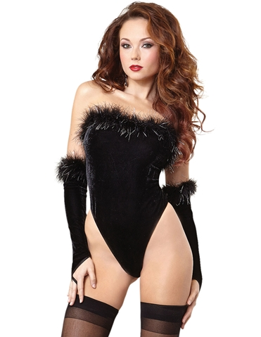 MARABOU VELVET TEDDY WITH GLOVES