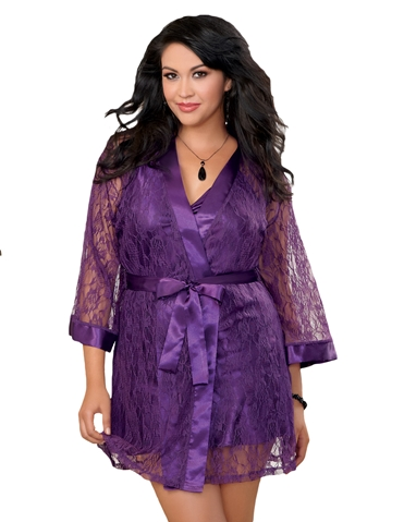 LACE ROBE & SATIN CHEMISE SET - PLUS