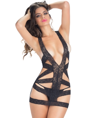 STRAP ATTACK LACE STRAPPY CHEMISE
