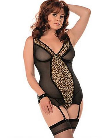 LEOPARD LOVE SHEER & SEXY BUSTIER WITH HOSE - PLUS