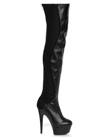UNIQUE LEATHER LOOK THIGH HIGH BOOT