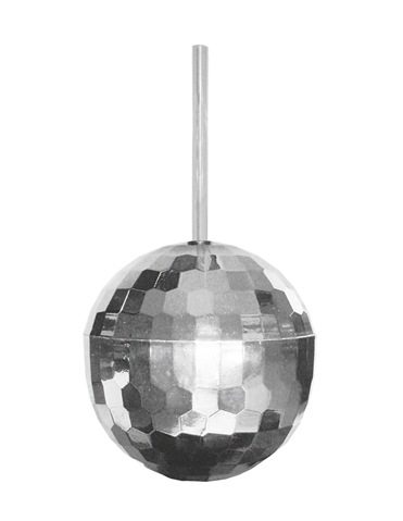 DISCO BALL CUP WITH STRAW