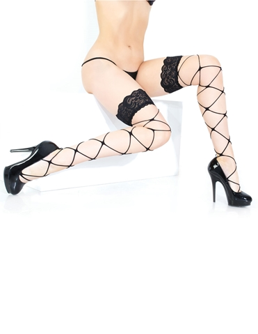 LACE TOP LEG WRAP THIGH HIGHS
