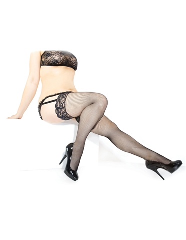 LACE TOP FISHNET STOCKINGS - PLUS