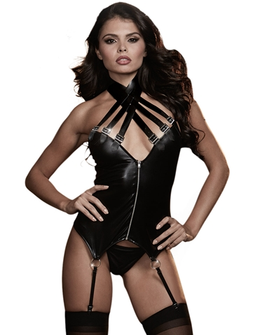 FAUX LEATHER STRAPPY BUCKLE BUSTIER