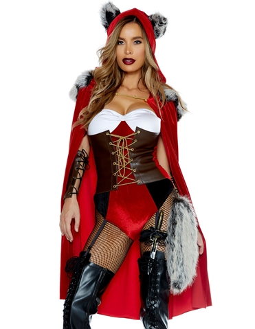 RED HAUTE RIDING HOOD WITH CAPE