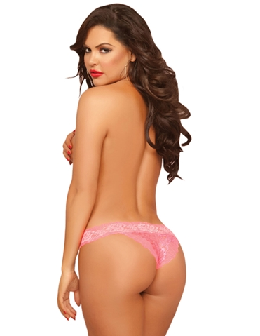 ROSE LACE OPEN CROTCH TANGA