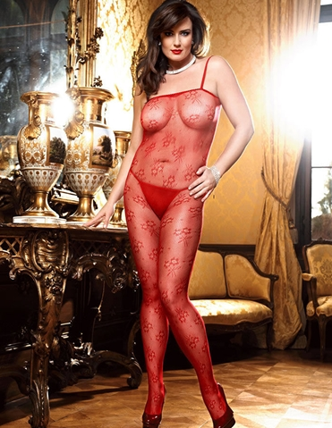 FLOWER LACE BODYSTOCKING - PLUS