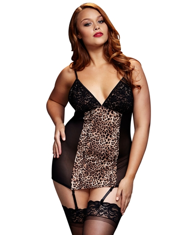 LEOPARD PANEL CHEMISE BLACK - PLUS