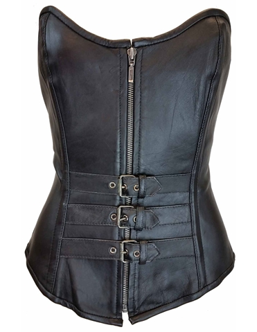 THREE BUCKLE LEATHER CORSET