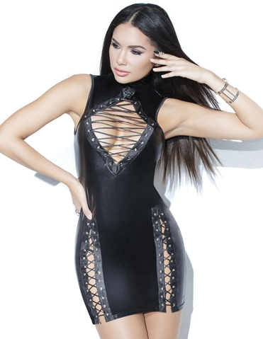 LACE ME UP WETLOOK MINI DRESS