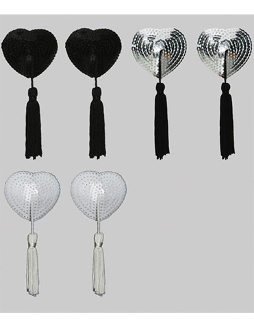 3PR PASTIE SET-SEQUIN HEART TASSELS