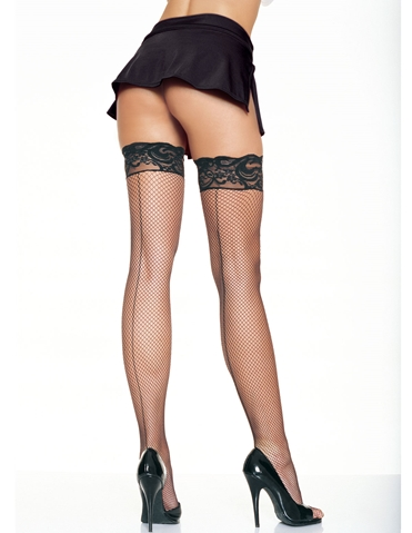 STAY UP FISHNET THIGH HIGH WITH BACKSEAM - PLUS