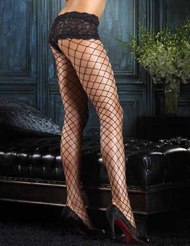 FENCE NET PANTYHOSE W/LACE SHORT