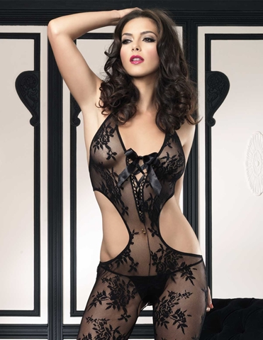 FLORAL LACE CUT OUT BODYSTOCKING
