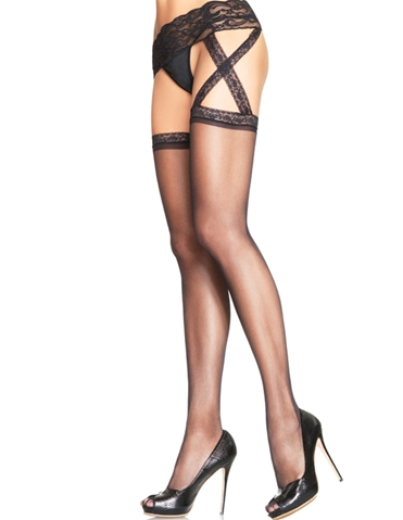 LACE TOP STOCKING W/GARTERBELT