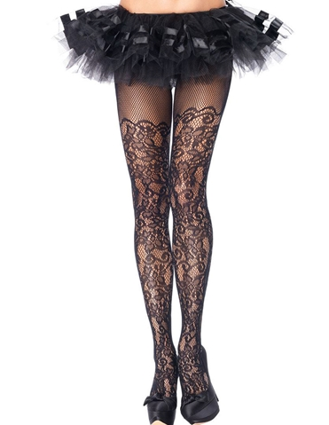 FLORAL NET PANTYHOSE - PLUS